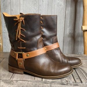 Latigo Thistle Leather Brown Lace Up Strap Boots